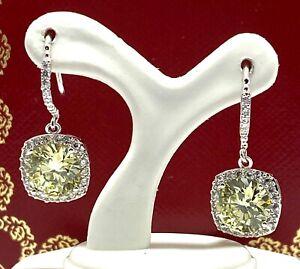 .925 Sterling Silver, 12.15ctw Peridot & White Topaz Earrings