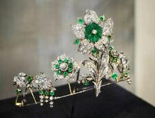 White Gold Wedding Anniversary Tiara 8.83ctw Natural Diamond Emerald Enamel 14K