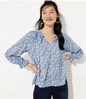 New Loft Womans Floral Peplum Back Blue White Blouse Sz Large Top NWT