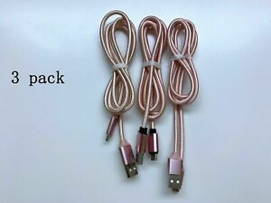3-Pack Micro USB Charger Fast Charging Cable Cord For Samsung Android Phone 6ft