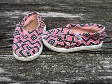 TOMS Girls Canvas Shoes Size 5 Toddler Pink Black
