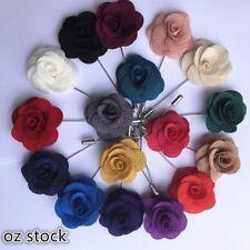3PCS Men's Handmade ROSE FLOWER Lapel Pin Wedding Gift RED WHITE NAVY BLUE