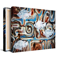 Artistic White Fish Abstract Framed Canvas Picture - Wall Art Print