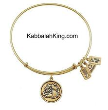 Wind & Fire Bulldog Mascot Charm Gold Expandable Bangle Bracelet Made USA