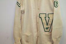 Vintage 30s V High School Letter Cardigan Sweater Jacket College Imperial Beige