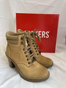 Kickers Womens Tan Leather Heeled Boots Masha Chunky Size UK 5 Boxed B11