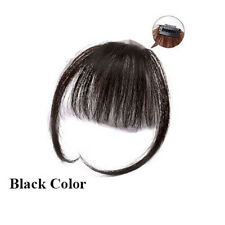 Thin Neat Air Bang Remy Human Hair Extensions Clip in on Fringe Front Hairpiece