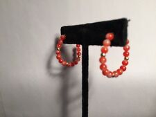 antique NATURAL deep blood red & white CORAL 14k gold HOOP earrings PIERCED