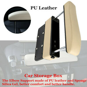 Beige Car Seat Pocket Storage Armrest Box Organizer Holder Part Relax Arm w/USB