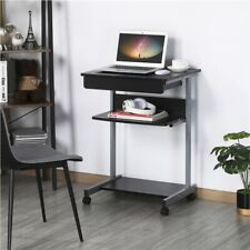 More details for movable computer desk w/ keyboard tray and shelf, laptop table for small spaces