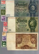 NAZI GERMANY BANKNOTE, COIN AND STAMP SET  # 3