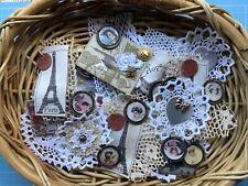 Junk Journal Miniature Vintage Portrait Cluster Embellishment shabby Chic Doily