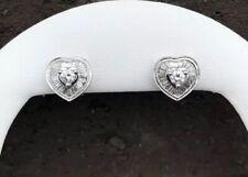 14K WHITE GOLD 1CT DIAMOND HEART OMEGA CLIP EARRINGS *VIDEO*