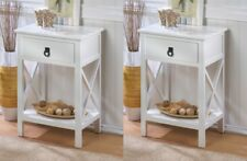 Set of 2 Hampton Glossy White Accent, End Table Night Stands w/ Drawer and Shelf