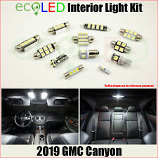 For 2019 GMC Canyon WHITE Interior LED Light Accessories Package Kit 10 Bulbs