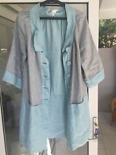 Lee Mathews Dress / Tunic /Coat Pale Blue Linen Retro 60's REDUCED TO SELL !!