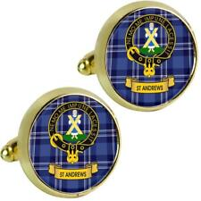 Mens Cufflinks St Andrews Scottish Clan Crest Brass Finish Presentation Boxed