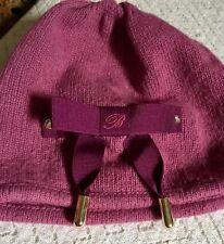 Blumarine Beanie Hat Designer Wool Blend Made In Italy Purple Plum Color