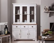 Canterbury Dresser Sideboard 3 Drawer With Glass Drawers in Choice of Colours Silk Grey & Dark Pine