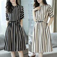 Fashion Elegant Vertical Striped Short Sleeve Slim Dresses For Woman Parties //