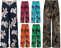 Womens Ladies Plus Size Flared Wide Leg Printed & Plain Parallel Palazzo Pants