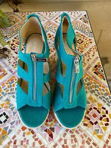 Michael Kors New Berkley Logo Print Wedge Sandals TEAL BLUE Zip front Size 8
