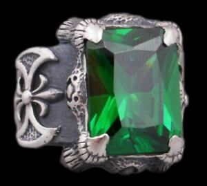 GREEN TOPAZ WARRIOR KNIGHT AXE DRAGON SNAKE CLAW 925 STERLING SILVER MENS RING