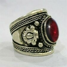 Large Adjustable Tibetan Oval Garnet Gemstone Dorje Weaving Dotted Amulet Ring