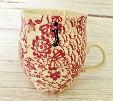 Anthropologie Monogram Letter J Homegrown Initial Floral Coffee Mug Cup