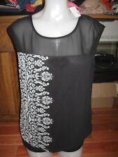 STUDIO Y, WOMEN'S NEW Black/White Sleeveless Polyester Career Geo Blouse, Size M