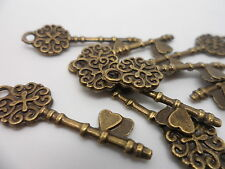 10 x Antique Bronze Love Keys~Key to my Heart~Charms,Pendant~Crafting 30x8x1mm