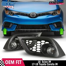 For 16-17 Toyota Scion iM Winjet OE Factory Fit Fog Light Bumper Kit Clear Lens