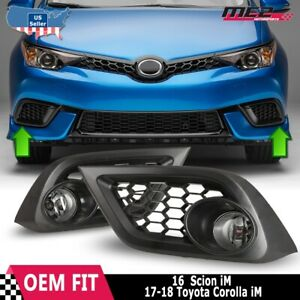 For 16-17 Toyota Scion iM OE Style Fit Fog Light Bumper Kit Clear Lens