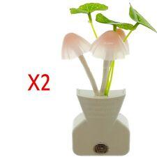 2X Sensor de luz LED noche romántica flor Seta Lámpara de la sala de Cama de Bebé Decoración Nuevo