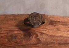 LATE MEDIEVAL RING WITH ENGRAVED DECORATIVE BEZEL-UNCLEANED-DETECTING FIND