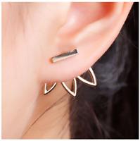 Lotus Flower Earring -Gold or Silver- Bar Stud Earrings, Open Hollow Ear Jacket