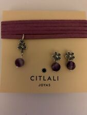 Citlali Rose Leather Sterling Silver Amethyst Set Necklace & Earrings. DMS173052