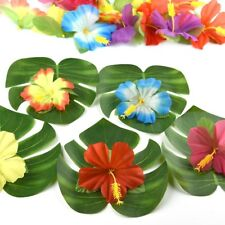 54Pcs Latest Artificial Tropical Palm Leaves Hibiscus Party Wedding Table Decor