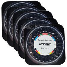 AZDENT 5 Pack Dental Ceramic Bracket Braces 5*5 Roth Slot.022 Hooks 345
