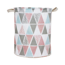 Round Linen Clothes Laundry Hamper Basket Kid Toys Holder Organizer Storage Bag