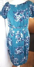 Apricot 12 Ladies Teal Green Floral Lined Soft Material Dress Fitted Waist Short