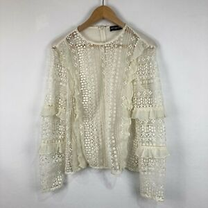 Esposito Womens Top Size 12 White Floral Lace Long Sleeve Round Neck Zip