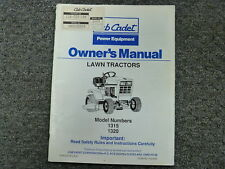 Cub Cadet Models 1315 & 1320 Lawn Tractor Owner Operator Maintenance Manual