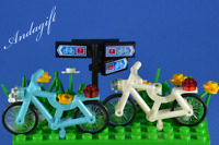 LEGO bicycle blue and white bikes custom NEW set cycle bicycle