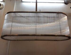 ANTIQUE VINTAGE ART DECO SHIP BRASS GLASS CEILING FIXTURE LIGHT CHANDELIER LAMP