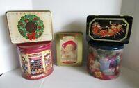 Christmas Holiday Tin Oreo Milky Way Hallmark Vintage 1990's Lot of 5 Candy Tins