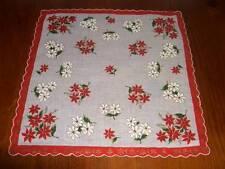 Vintage Christmas White/Red Poinsettia Hanky Hankies Handkerchief