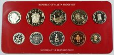 1979 Republic of Malta Proof Set, 10 Gem Coins, Made by the Franklin Mint W/ COA