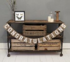 Congratulations Hessian Burlap Rustic Vintage Banner Bunting Party Decoration