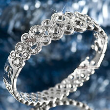 18k white gold gf made with SWAROVSKI crystal circle ring bangle bracelet